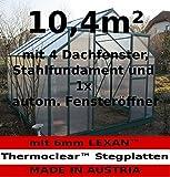 10,4m² PROFI ALU Gewächshaus Glashaus Treibhaus inkl. Stahlfundament u. 4 Fenster, mit 6mm Hohlkammerstegplatten - (Platten MADE IN AUSTRIA/EU) inkl. 1 autom. Fensteröffner von AS-S