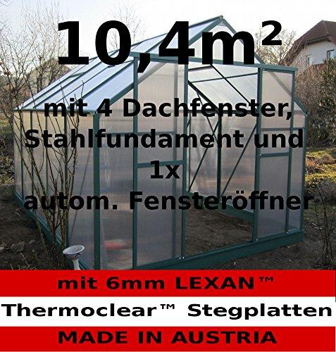 10,4m² PROFI ALU Gewächshaus Glashaus Treibhaus inkl. Stahlfundament u. 4 Fenster, mit 6mm Hohlkammerstegplatten – (Platten MADE IN AUSTRIA/EU) inkl. 1 autom. Fensteröffner von AS-S