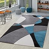 TT Home - Alfombra moderna abstracta para sala de estar con cortes en color gris, turquesa y negro, polipropileno, 120 x 170 cm