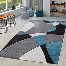 TT Home - Alfombra moderna abstracta para sala de estar con cortes en color gris, turquesa y negro, polipropileno, 60 x 110 cm
