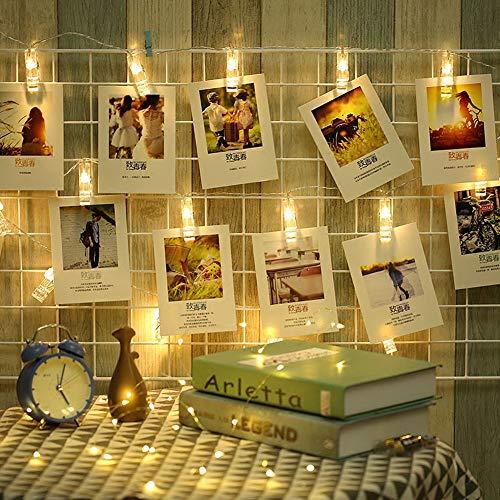40 LED-Lichterketten, 8 Beleuchtungsmodi, Lichterkette, Stromversorgung durch Batterien oder USB-Fotos zum Aufhängen, Warmweiß für Party, Schlafzimmer, Hochzeit, Event [Update-Version]