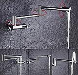 Küche Wasserhahn, Topf füller, kreativer Wasserhahn, Wasserhahn, zeitgenössischer Stil, Wandmontage, einziehbar, Wasserhahn, Dual Swing Gelenke, 360 ° Drehhahn, hochwertiges Hydroventil