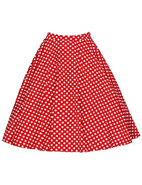 Beauty7 Falda Vintage Años 50 Hepburn Estampada Lunares Midi Falda Tutú Cintura Alta Una Línea Cóctel, ES 38/40...