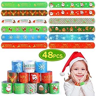Tacobear 48Piezas Navidad Slap Pulseras Pulseras de bofetada Pulseras de Juguete Navidad Fiesta Artículos Party Favores Navidad Regalo para Niños Niñas