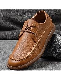 Zapatos ocasionales de cuero ganso zapato cordón,yarda 39 amarillo