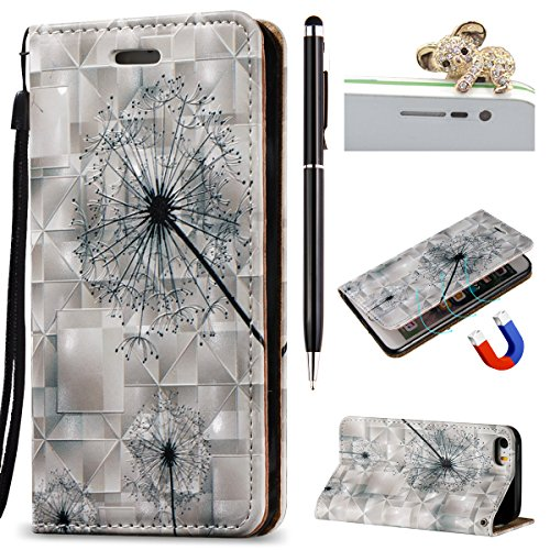 iPhone SE Hülle,iPhone 5S Case,iPhone 5 Cover - Felfy Flip Bookstyle Wallet Luxe Handyhülle Niedlich Farbe Muster mit Bling Diamant Strass Design PU Leather Stand Wallet Flip Lederhülle Case Cover Pou Löwenzahn -Lanyard