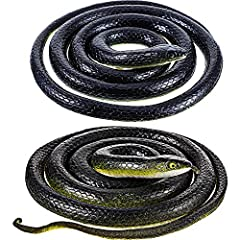 Idea Regalo - Serpenti di Gomma Realistici, Falso Serpente Nero Mamba Serpente Giocattoli per Puntelli da Giardino per Spaventare Gli Uccelli, Scherzi, Decorazioni di Halloween (2 Pezzi, 51 Pollici, 47 Pollici)