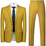 MOGU Mens Slim Fit Suit 2 Piece Tuxedo for Daily Business Wedding Party (Suit Jacket + Pants)