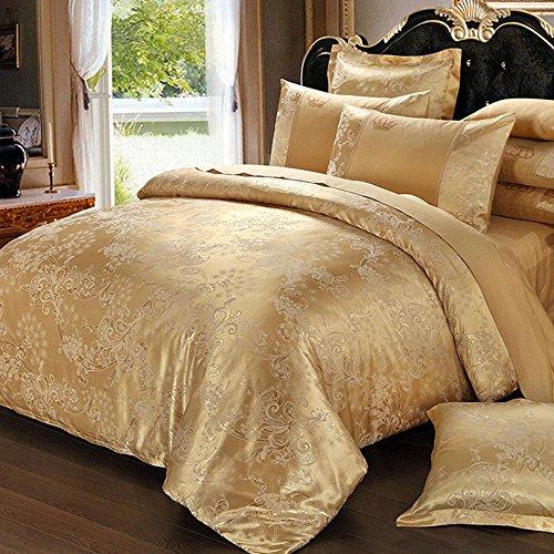 Cnspin Baumwolle Luxus Satin Jacquard Bettwäsche Seide Spitze Duvet Set Hochzeit Geschenk 4 Stücke 1 Bettbezug, 1 Bettwäsche, 2 Kissenbezüge, D, 220X240Cm (Duvet-set Luxus-bettwäsche)