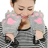 Makeup Handschuhe Halbe Finger Pratzen Wolle Plüsch warmen Winter nicht-Finger Gr. one size, Grau - Grau