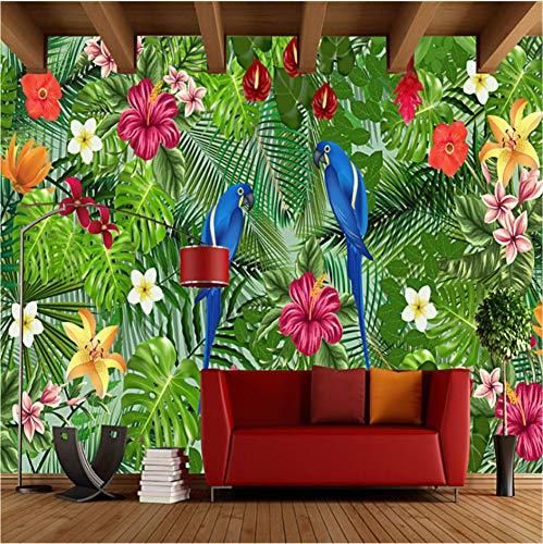 Tapete 3D Papagei Regen Wald Tropische Pflanze Hintergrund Wandbild Wohnzimmer Schlafzimmer Hintergrund Wandtuch Wohnkultur,320X220Cm (125,98X86,61 In)