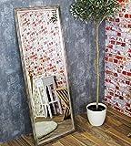 Eja Wandspiegel 50 x 130 cm silber antik, MR511, Metallrahmen, Facettenschliff