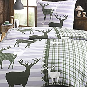 Bettwäsche Set Hirsch grün green - 2 tlg 100% Baumwolle Perkal Winter Streifen gestreift, Größe:135x200 cm + 80x80 cm
