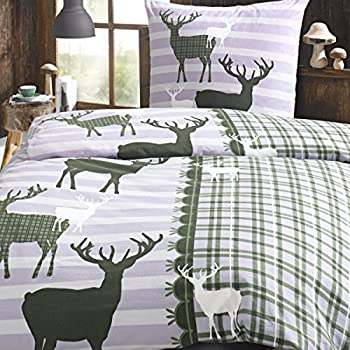 bettw sche set hirsch gr n green 2 tlg 100 baumwolle flanell winter streifen gestreift gr e. Black Bedroom Furniture Sets. Home Design Ideas
