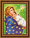 Avercart Young Jesus Christ With Mother Mary / Virgin Mary with the Child Jesus Christ / Christian Poster 13x18 cm with Photo Frame (5x7 inch framed)