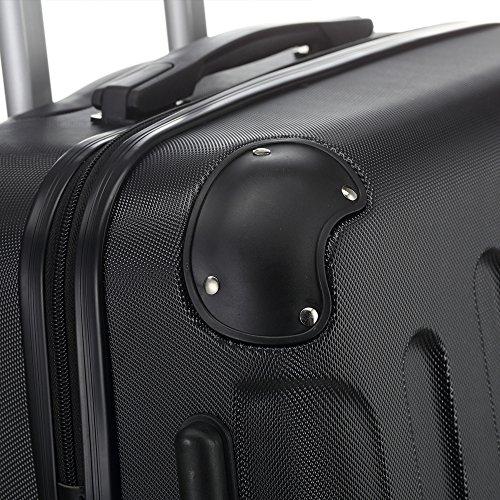 2045 Hartschale Koffer Trolley Reisekoffer einzelgröße XL-L-M in 10 Farben (L, Schwarz) - 5