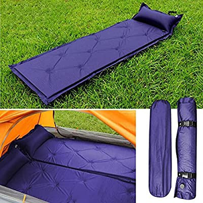 Garden mile® Large Compact Blue Waterproof Self Inflating Roll Up Camping Mat Or Sleeping Mat Portable Festival Blow Up Bed Mattress With Carry Bag.188cm x 57cm - low-cost UK light shop.