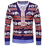 VECDY Herren Bluse,Räumungsverkauf-Herren Männer Herbst Winter Weihnachten Druck Top Männer langärmelige T-Shirt Bluse Weihnachtsmann Bell Print Pullover(Mehrfarbig,48)