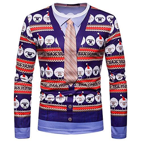 VECDY Herren Bluse,Räumungsverkauf-Herren Männer Herbst Winter Weihnachten Druck Top Männer langärmelige T-Shirt Bluse Weihnachtsmann Bell Print Pullover(Mehrfarbig,52)