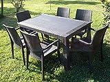 Set Garden Top Marrone Tavolo e 4 Poltrone in Resina Effetto Rattan da Giardino immagine
