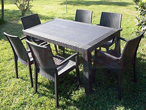 Dimaplast2000 AMZ002 Set Garden Top Tavolo e 6 Poltrone in Resina Effetto Rattan da Giardino, Marrone Scuro, 140x80x72 cm
