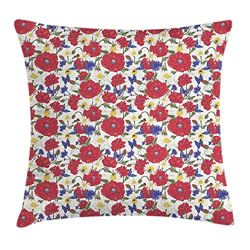BUZRL Floral Throw Pillow Cushion Cover, Blooming Red Poppies Chamomile Ladybird and Daisies Bumblebee Bees and Butterflies, Decorative Square Accent Pillow Case, 18 X 18 inches, Multicolor