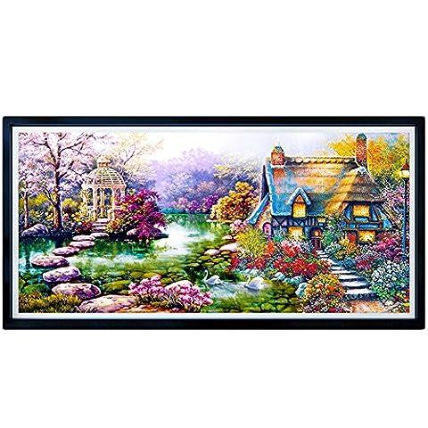 aihome DIY 5D Diamant mosaïque Paysages Jardin Lodge Peinture Kits point de croix diamants brodé décoration de la maison