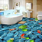 LWCX Pvc Selbstklebend Wasserdichte Boden 3D Wallpaper Aufkleber Lotus Teich Pebble Murals Badezimmer Bodenbelag 200X140CM