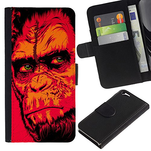 """Bright-Giant (Red Monkey Gorilla), motivo: fantasia colorata a portafoglio in pelle con chiusura a linguetta, pellicola protettiva, per Apple, 11,94 cm (4,7"""")!) iPhone 6 Plus/6S"""