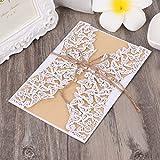 Ruda 10 Stücke Einladungskarten Elegant Cut Geschnitzte Hohle Blumenspitze Für Hochzeit Baby Shower Taufe Geburtstag Party Weiß (no.22)
