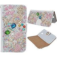 Evtech (TM) motivo floreale con corona cristallo bling glitter custodia a libro in pelle PU Custodia a portafoglio con supporto per telefono e carte di credito