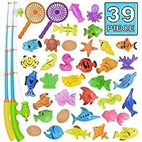 Juguete de la Pesca, Juguete del Baño, 39 Piezas de Juguete Magnético de la Pesca, Juguete Flotante Impermeable de la Bañera de Color Set de Aprendizaje de la Educación del Juego de Pesca, Juego al Aire Libre de la Pesca de Diversión Gran Regalo para los
