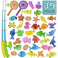 Juguete de la Pesca, Juguete del Baño, 39 Piezas de Juguete Magnético de la Pesca, Juguete Flotante Impermeable de la Bañera de Color Set de Aprendizaje de la Educación del Juego de Pesca, Juego al Aire Libre de la Pesca de Diversión Gran Regalo para los Niñitos y Niños.