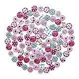 Ukainiemai 100 PCS Knopf Bruch Zwei Loch knopf blumenpunkt hölzerne Knöpfe Kinder kleidet Dekoration knopf Kinder DIY15mm hölzernes Loch Zwei Knopf 1 (Color1)