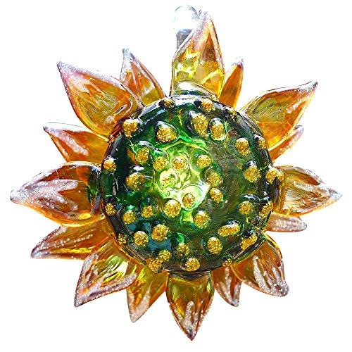 Sansukjai Sonnenblume Figuren Handbemalt Mundgeblasenes Glas Kunst Wand Hängeornamente Home Decor Kollektion Geschenk