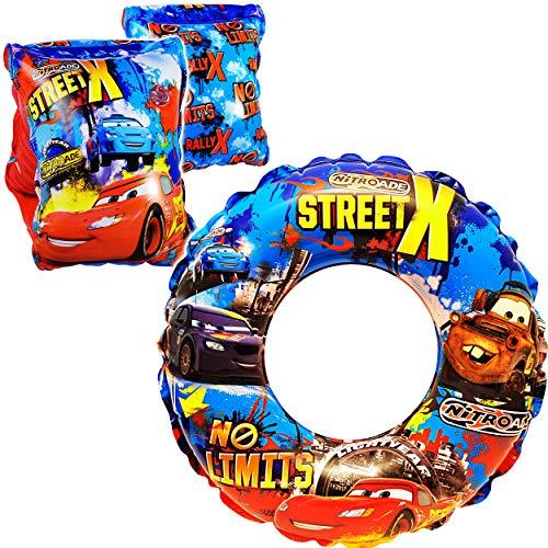alles-meine.de GmbH Set _ Schwimmflügel / Schwimmärmel & Schwimmring -  Disney Cars / Lightning McQueen - Auto  - aufblasbar - 2 bis 6 Jahre - jeweils 2 Luftkammern ! - Schwimm..