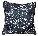 Sit Möbel 1032-21 Kissen This und That, 45 x 45 x 7 cm, Kuhfell mit Reißverschluß, Rückseite 100% Baumwolle, metallic Silber auf grau