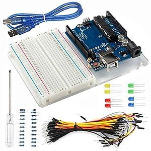 61eaebgSXFL. SS300  - Smraza para Arduino Uno R3 Starter Kit con Breadboard, Cables de Puente, Cable USB, Leds y Base Acrílica Compatible con Placa Arduino UNO Mega2560 Mega328 Nano