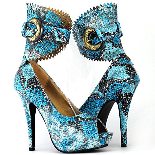 Visualizza Story Multicolore Motivo floreale / Animal Gladiator Platform Pumps, LF30402 serpente blu