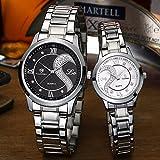 Fq-102Armbanduhren-Set für Sie und Ihn, Edelstahl, Romantisches Uhren-Paar, Uhren für Männer Frauen, schwarz und weiß, 2Stück -