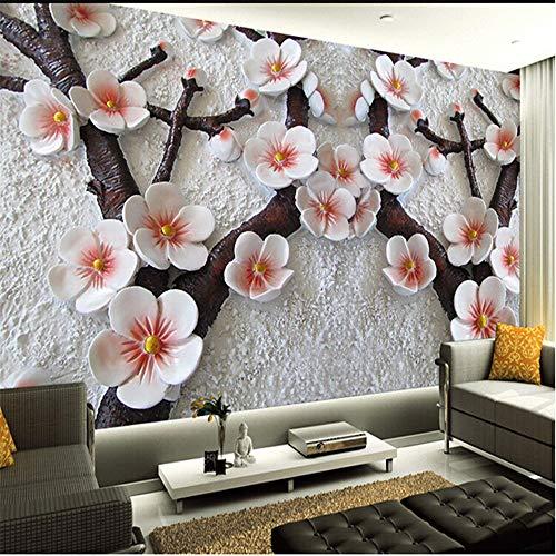 308 Pflaume (Tapete, 3D-Wandgemälde, Hd Moderne Malerei Wohnzimmer Tv Hintergrund Geprägt Pflaume Fototapete, 308X220Cm)