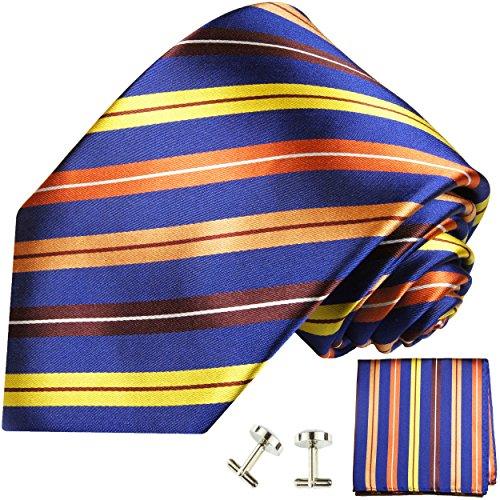 Cravate homme orange bleu rayé ensemble de cravate 3 Pièces ( longueur 165cm )