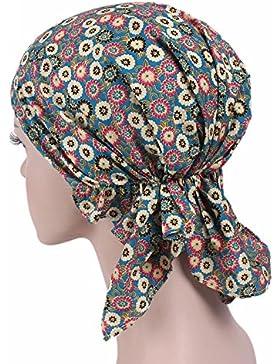 Mujeres sombrero con volantes (algodón, Yuan cáncer Chemo gorro de punto bufanda turbante Pañuelo para la cabeza...