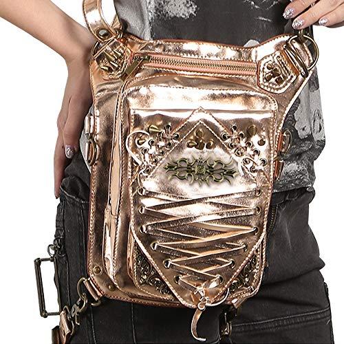 wasserdichte PU-Leder Steampunk Hüfttaschen Sport Drop Beinbeutel, Vintage Gothic Retro Rock Messenger Bag Hüfttasche Handtasche, Für Männer, Frauen Motorrad Fahren
