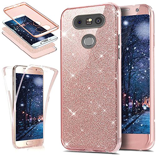 LG G5 Hülle,LG G5 Schutzhülle,Full-Body 360 Grad Bling Glänzend Glitzer Klar Durchsichtige TPU Silikon Hülle Handyhülle Tasche Case Front Back Double Beidseitiger Cover Schutzhülle für LG G5,Rose Gold