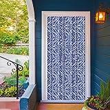 Campingvorhang Insektenschutz Flauschvorhang Blau-Weiß-Silber Meliert Auswahl: 90x215 cm