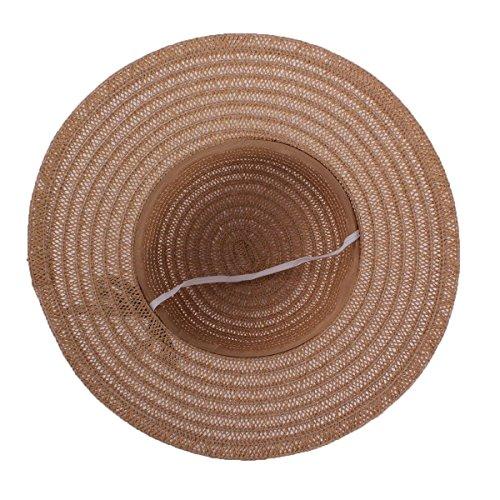 YESURPRISE Chapeau de paille Femme Elégant Chapeau de Plage Marron