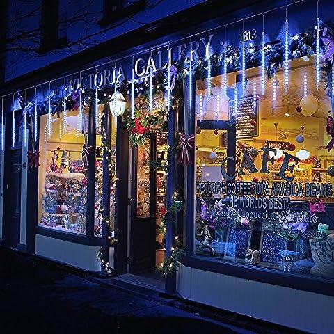 BlueFire Aktualisiert Meteorschauer Regen Lichter, 30cm 10 Tubes 300 LEDs Wasserdichte Schneefall Lichterkette für Draussen/Innenraum/Garten/Hochzeit/Party/Weihnachten Dekoration (Blau)