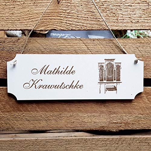 Schild « Kirchenorgel » Türschild mit persönlicher Wunschgravur und Motiv - Größe ca. 20 x 6,7 x 0,5 cm - Shabby Dekoration Namensschild Name - Instrument Kirche Orgel