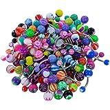 Frcolor Acrílico del ombligo del ombligo anillos piercing espárragos joyería para la decoración del cuerpo (color mezclado)